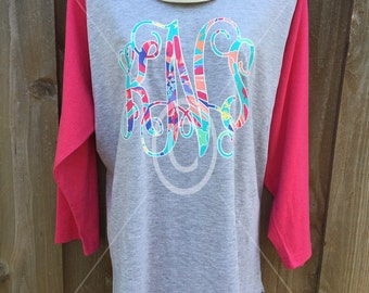 Hot Pink Monogram Patterned Baseball Raglan