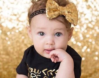 Newborn headband Gold sequin Bow sparkle headband little girl gold sparkle headband photo prop headband arrow headband girl headband