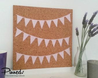 Bunting flag design pinboard, hand painted cork board, memo board, bulletin board, girls bedroom