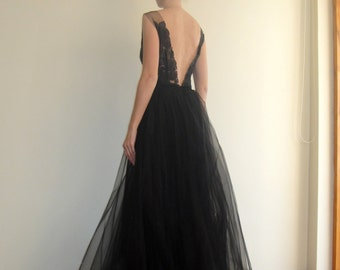 Black Tulle Maxi Evening Gown,Open Back Dress,Long Prom Dress,Bridal Lace Gown,Elegant Bridesmaid Floor lenght Dress,Low back Gown,Lenazh.