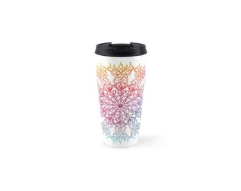 Rainbow Mandala Travel Mug. Insulated Stainless Steel with Removable Lid.