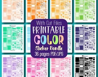 Printable Planner Bundle Printable Planner Stickers - 36 Colors / Sheets Printable Bundle - W/Cut Files