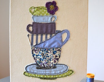 time for tea, freehand machine embroidered, box canvas