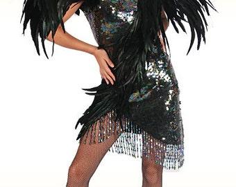 Feather Dress - Ave de la Noche, Sequin Feather Dress, Vegas Dress, Showgirl Dress
