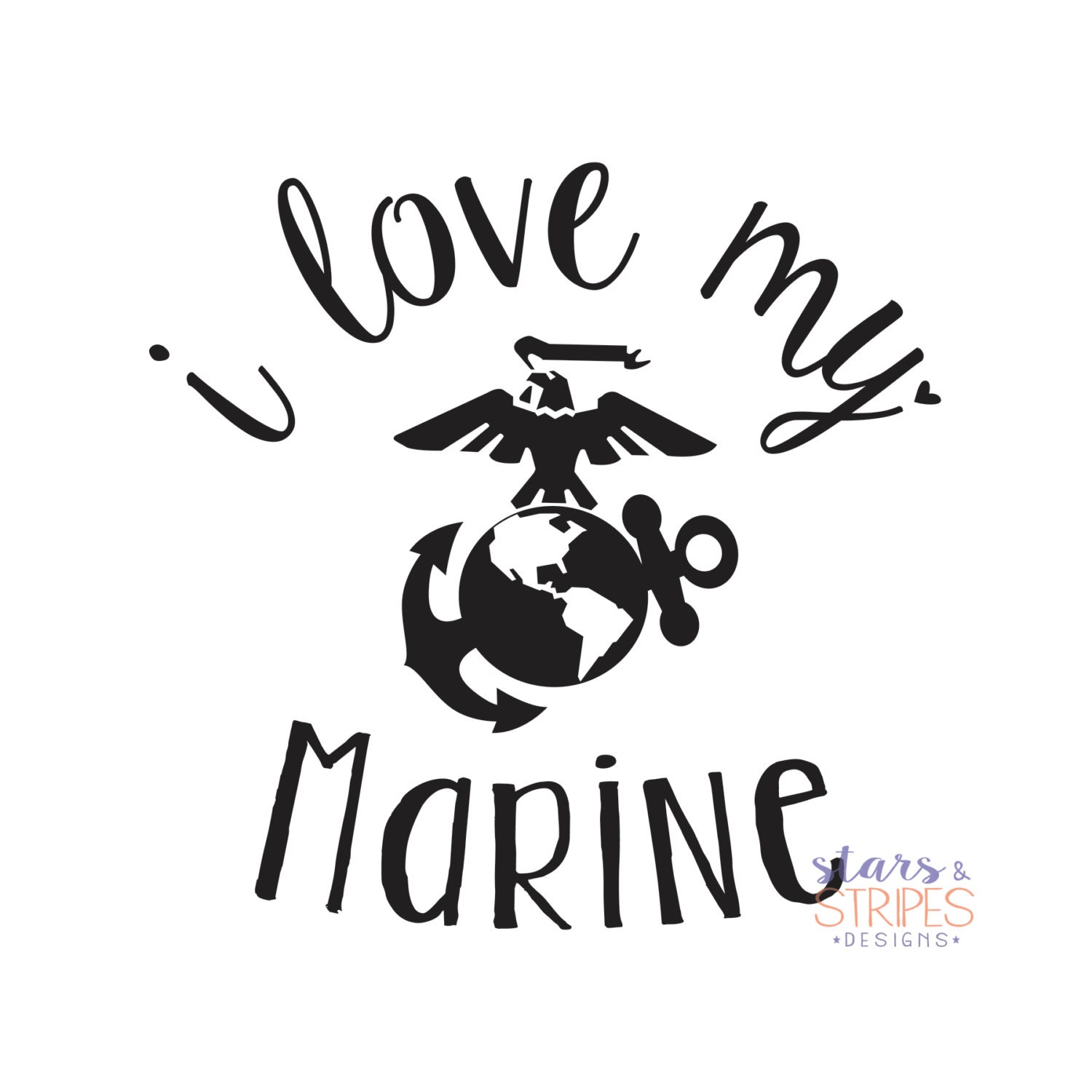 I Love My Marine Love Decal. USMC Hero America Patriotic