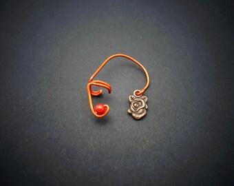 Ear cuff rose metal bronze, vegetal-steampunk, aluminium wire copper color