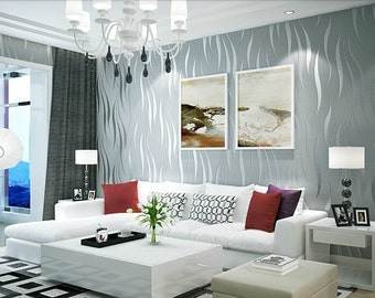 Silver Grey Modern Wave Wallpaper