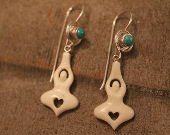 Hand-carved bone, turquoise and silver yogic heart earrings