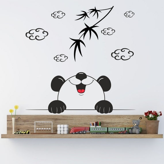 Panda bear wall decal art decor bedroom design nursery room for Panda bear decor