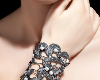 CLC001 - Silver knitted lace cuff bracelet with crystals and pearls
