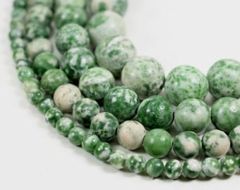"Natural Tree Agate Green Spot Stone 4mm 6mm 8mm 10mm round 15.5"" strand"