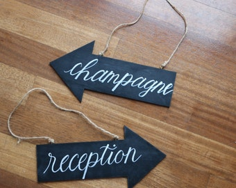 Hand painted and Lettered Custom Wedding Chalkboard Arrow Sign