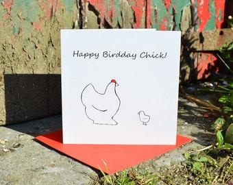 Happy Birdday Chick Card - Funny Hand-Drawn Birthday Card