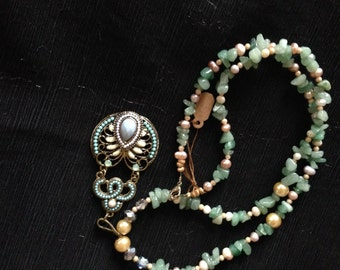 """25"""" Sage Green/Ivory Necklace With Turquoise Pendant"""