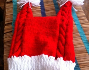 Two tailed cable knitted santa hat