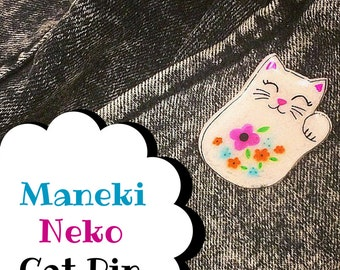 Customizable Cat Pin | Waving Maneki Neko Inspired Floral Lapel Pin, Stick Pin | Good Luck Beckoning Cat Charm | Cute Animal Accessory
