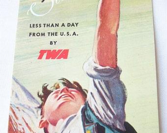 Vintage 1948 Travel Brochure - Switzerland - by TWA