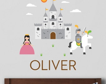 Knight Castle Decal, Knight Wall Decal, Knight Decal, Castle Decal, Custom Name Decal, Personalized Decal, Boys Room Decal, Boys Decal