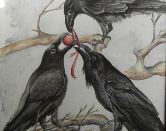 Trifling, original watercolor print, ravens, crows, Christmas,  black bird