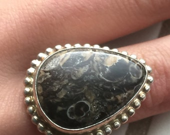 Brown Agate and .925 Silver Ring