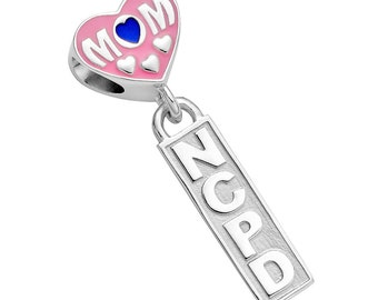 Nassau County Police Mom Charm- NCPD - Fits Pandora Bracelet - Sterling Silver