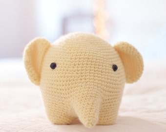Yellow Elephant . Stuffed Animal Plushie Crochet Amigurumi . Decor . Kids Decor . Kids Toys