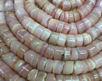8mm Natural Pink Opal Tyre Beads, Top Quality , Pink Opal Heishi Beads- length 16 Inches
