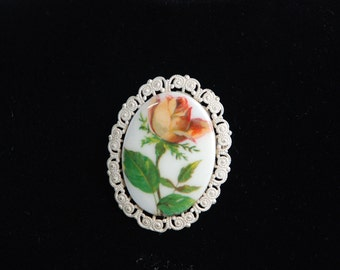 Oval Vintage Rose brooch - Free shipping