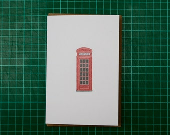Red Telephone Box Illustration A6 Greeting Card