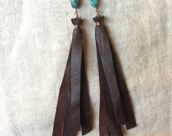 Copper, Turquoise and Leather Fringe Earrings
