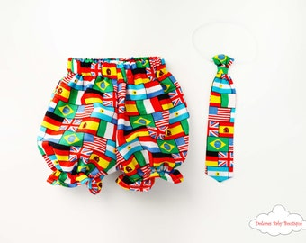 Baby Flags Outfit~ Baby Boy Bloomers~ Baby Boy Tie~ Baby Flags~ Cotton baby set~ Baby Boy Party~ 1st Baby birthday~ Baby American Flag