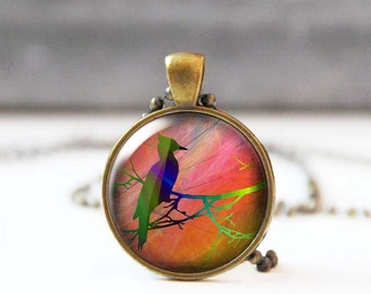 Woodpecker on branch photo necklace, Round picture jewelry, Image pendant, Nature inspired jewelry, Wearable art, Nature lover gift, 5018-6