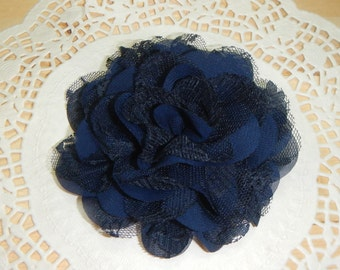 "4.5"" Navy Lace Chiffon Flower, Lace Flower Hair Clip, Flower Hair Clip, Chiffon Flower Clip, Navy Flower Clip, Hair Clip, Women Hair Clip"