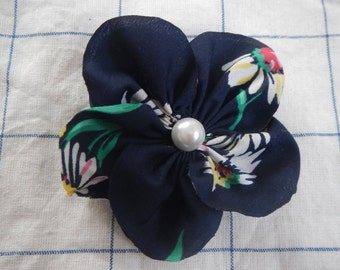 Fabric Flower bow, Flower Bow with Pearl, Navy color bow,