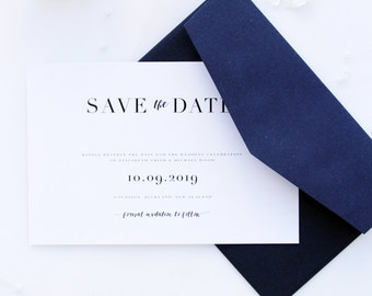 Loretta Classy and Elegant Navy Blue Save the Date Cards, Printable Save the Date Cards pr Printed Save the Date