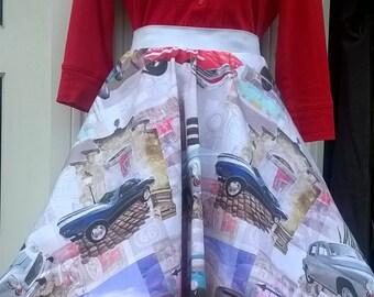 1950s/60s inspired full circle skirt. Vintage car design