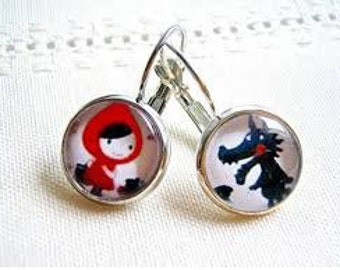 Earrings little Red Riding Hood and the big bad wolf