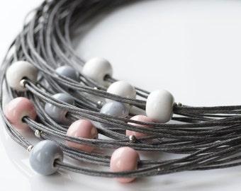 Porcelain necklace Pastel necklace Cotton cord necklace Chunky necklace Large necklace Gift for her