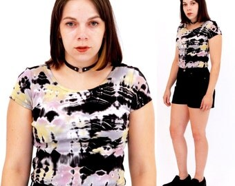 Grunge Tye Dye Top // Vintage 1990s, Black, Short Sleeve, T- Shirt, SMALL