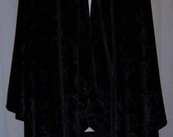 Black Embossed Velvet Ruana