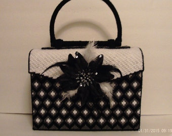 Black and white Bargello print handbag