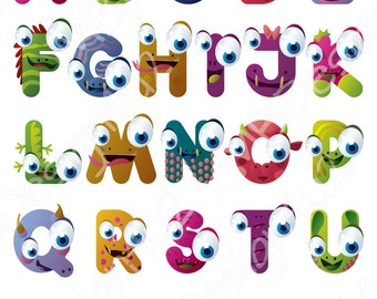 Monster Alphabet Art, Brights Nursery Alphabet Poster, Illustrated Alphabet Prints, Kids Room Decor, Printable ABC Poster, Alphabet Kids Art