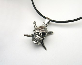 Skull skull Pirate sword Sterling Silver 925 jewellery charms