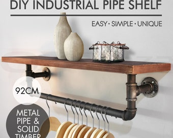 NEW Rustic Industrial DIY Pipe Shelf Vintage Bookshelf Wall Mount Towel Shelving