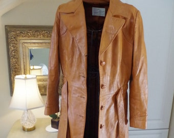 1970's Leather Trench Coat