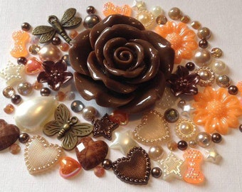 Autumn Fall  butterfly 7 dragonfly charm included in the mix cabochon flatbacks scrapbook embellishment flowers pearls gems crafts frames
