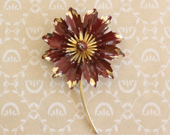 Vintage Enamel Flower Brooch Pin Brown and Gold Tone Large Enamel Daisy or Mum Pin