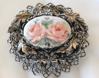 Vintage Hand Painted Rose Cameo Layered Filigree Brooch Pin Antiqued Silver Tone
