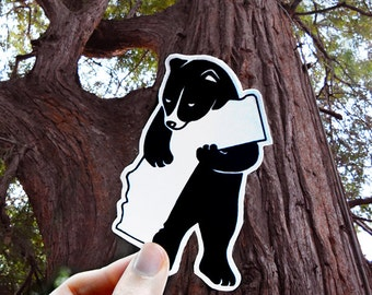 Grizzly Bear Hugging California - I Love California Vinyl Laptop Sticker or Car Bumper Decal