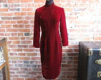 Vintage 1960s Blood Red Velvet Cheongsam Dress // 60s Asian Wiggle Dress // Qipao